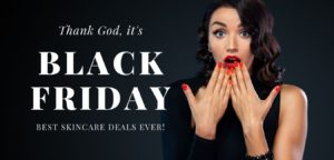 Woman in black with red lipstick and nails looking excited about Black Friday Sale reminder