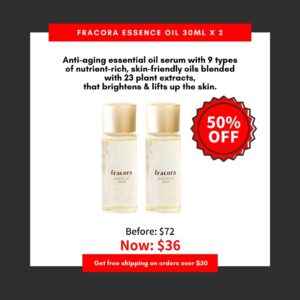 Japanese skincare products on white background, with text products details photo, red discount banner