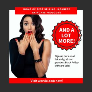 Woman in black with red lipstick and nails excited about Cyber Beauty sale