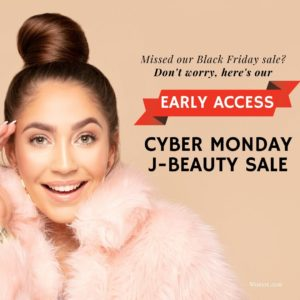 Woman in pink sweater with hands on face posing on the camera excited about Cyber Beauty sale and Sale red banner