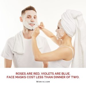 White man and woman wearing white tops on a white background doing a skincare routine with face mask sheets