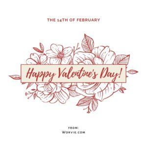 Valentines day virtual greeting card, with dark red flowers and leaves drawings