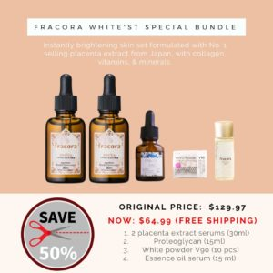 Japanese skincare product photo on pink background, with product details text and discount circle banner