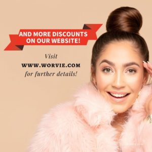 Woman on pink furry sweater inviting to check out skincare Cyber Monday Sale