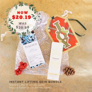 Japanese skincare products photo flatlay with Christmas decors