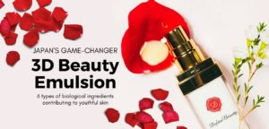 Japanese skincare product on white background surrounded with red roses