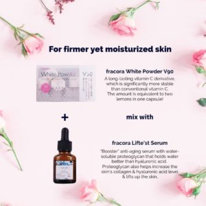 Japanese skincare product photos with pink roses flatlay on pink background