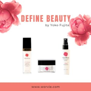 Japanese skincare product photos with pink roses on white background
