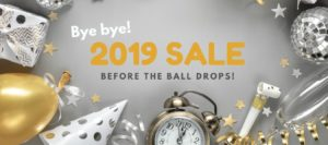 Gift box, ballons, clock, wine glass and other New Year decorative items used as promo website banner for New Year skincare deals