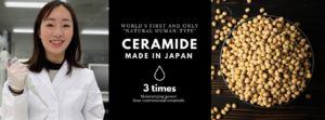 Japanese scientist woman and a bowl of soybean promoting Ceramide skincare product from Japan