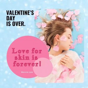 Woman in pink lying on blue bed with heart confetti used for skincare Valentines promotion