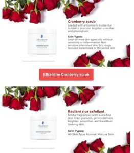 Newsletter screenshot showing of skincare products on white background surrounded with red roses