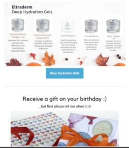 Newsletter screenshot showing of skincare products on white background surrounded with fall dried leaves promoting skincare sale