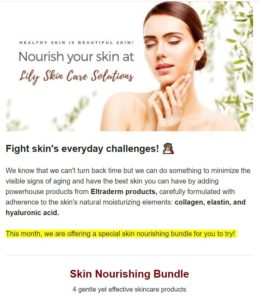 Newsletter screenshot showing a beautiful woman on white background promoting skincare products