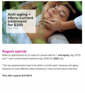 Newsletter screenshot showing a woman getting a face massage on a spa center