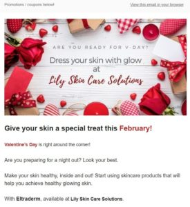 Newsletter screenshot showing of skincare products on white background surrounded with red roses promoting Valentines sale