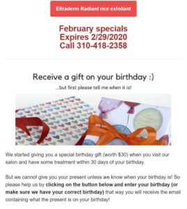 Newsletter screenshot showing a birthday campaign promo