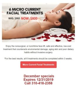 Newsletter screenshot showing a woman having a face massage lying on a white massage bed surrounded with red rose petals