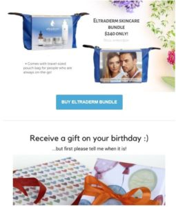 Newsletter screenshot showing bags of skincare products